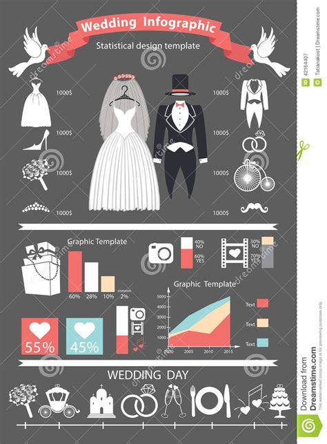 wedding infographics set retro wedding clothing stock