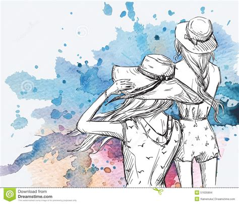 fashion illustration in hats on a watercolor