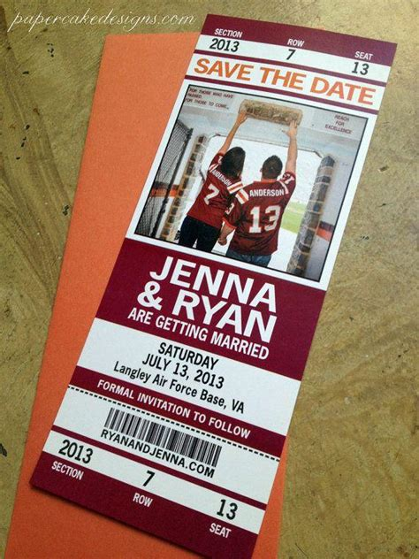 save the date ticket template football wedding save the date ticket invitation