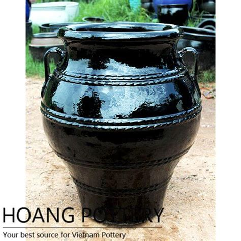 large black round glazed ceramic pots hptv055 hoang