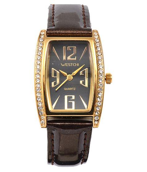 westchi black leather analog jewelry price in