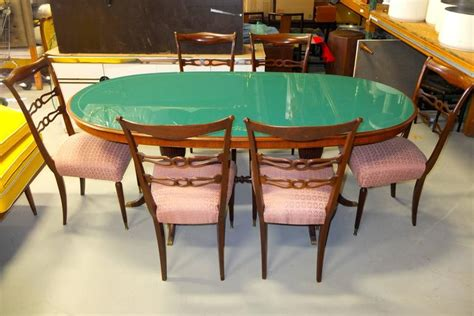 Green Glass Dining Table 1950s Italian Oval Rosewood Dining Table With Green Glass Top For Sale At 1stdibs