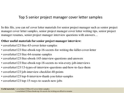 cover letter for senior project manager top 5 senior project manager cover letter sles