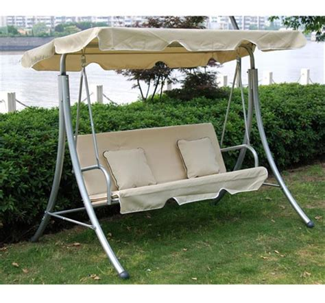 swing bench uk outsunny 3 seater swing chair w cushions 199x127x162 cm cream