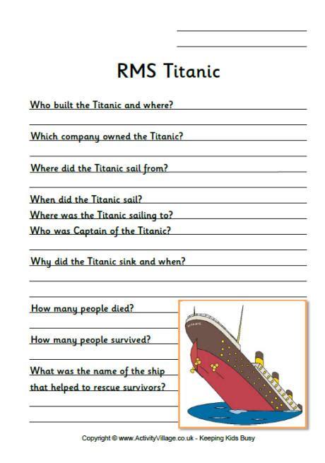 Titanic worksheet black and white