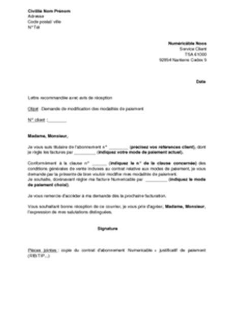 Demande De Facture Lettre Exemple Gratuit De Lettre Demande Modification Modalit 233 S Paiement Facture Numericable