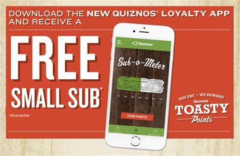 free online printable grocery coupons no registration quiznos toasty points app free 8 quot sub sandwich or full salad