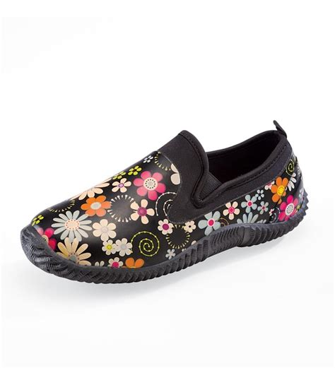 s slip on rubber and neoprene floral garden shoe boots
