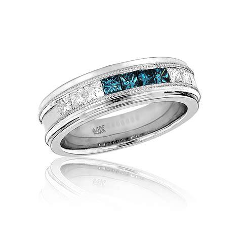 mens white blue wedding band 1 1ct 14k gold