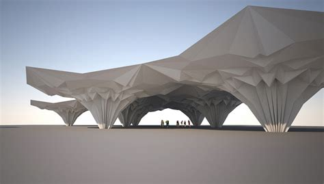 Folding Paper Architecture - tal friedman utilizes origami techniques to create fold