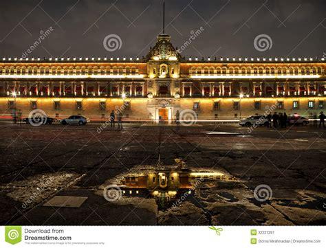 zocalo night national palace in plaza de la constitucion of mexico city