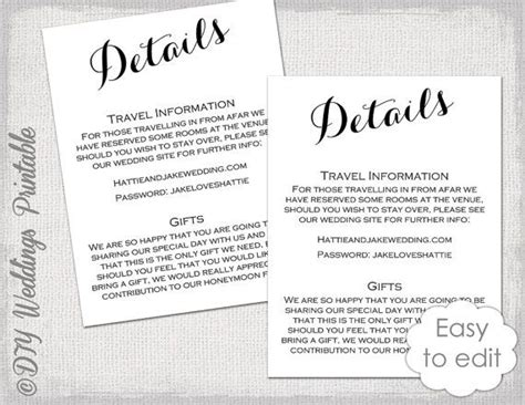 free enclosure card template wedding details enclosure template diy calligraphy