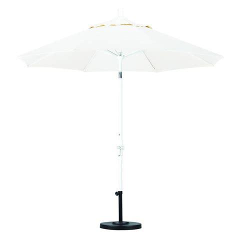 White Patio Umbrellas California Umbrella 9 Ft Aluminum Collar Tilt Patio Umbrella In White Olefin Gscu908170 F04