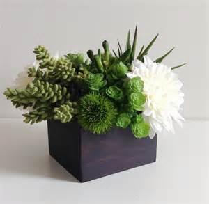 Wide Nightstand Artificial Succulent Planter Floral Arrangement