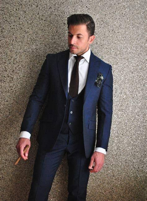 Blue mohair 3 piece suit   Delvero. Brown silk knit tie