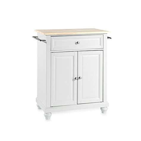 white kitchen island with natural top buy crosley cambridge natural wood top portable kitchen