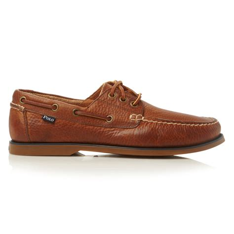 boat shoes polo polo ralph lauren bienne lace up tumbled leather boat