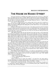 english worksheet the house on mango street