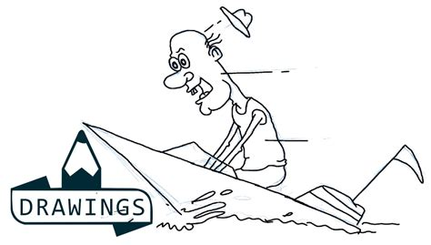 old boat drawing speed drawing how to draw a old man riding boat basic