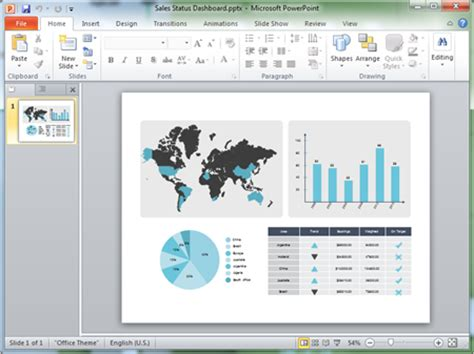 Status Dashboard Powerpoint Template Powerpoint Dashboard Template Free