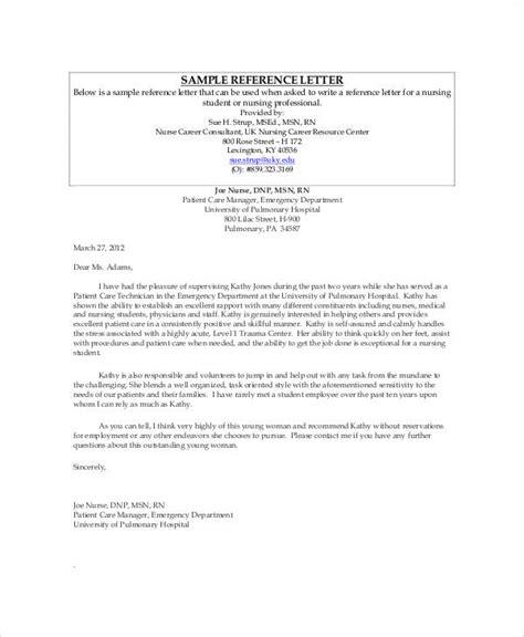 Recommendation Letter Nurses Employment sle nursing recommendation letter 9 exles in word pdf