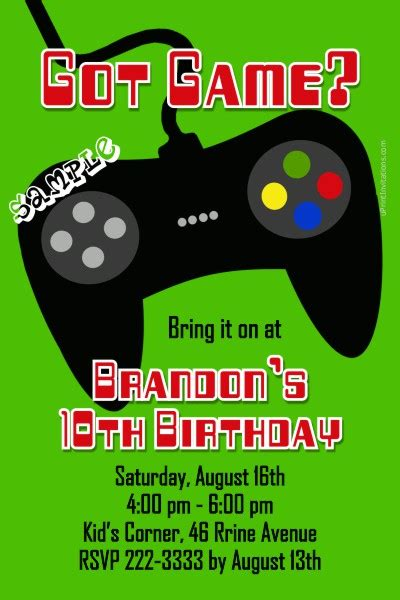 Video Game Controller Birthday Invitations All Colors Gaming Invitation Template