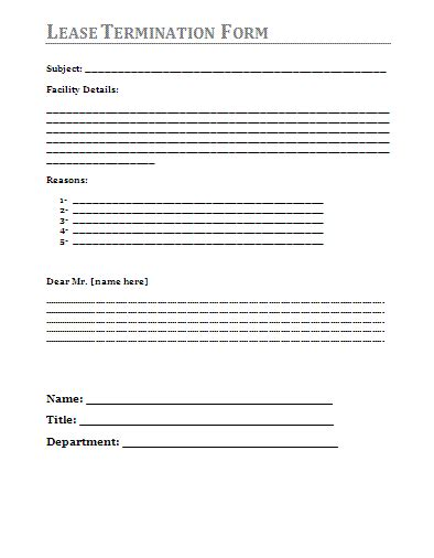 Lease Termination Agreement Template Free Lease Termination Form A To Z Free Printable Sle Forms