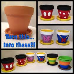 My disney life diy project painted flowerpots