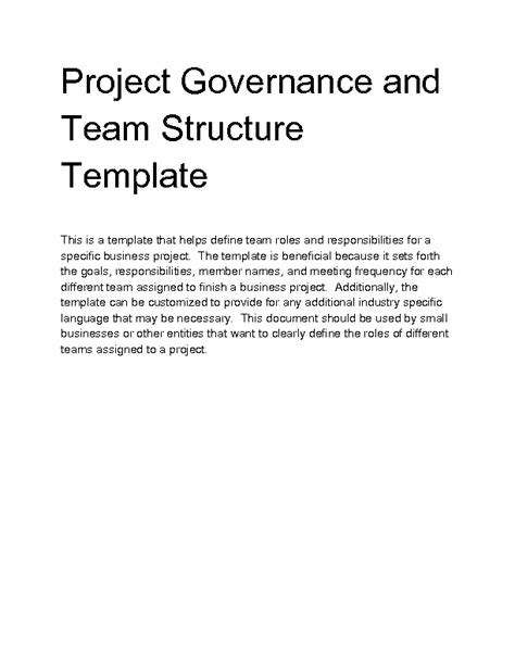 Welcome To Docs 4 Sale Project Governance Structure Template