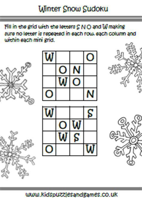 printable winter sudoku winter sudoku kids puzzles and games