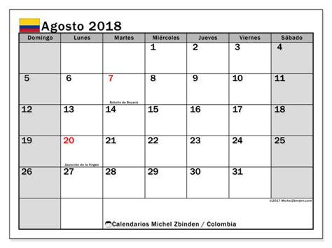 Calendario 2018 De Colombia Calendario Para Imprimir Agosto 2018 D 237 As Festivos En