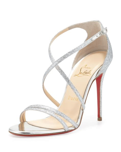 silver sandal heels lyst christian louboutin gwynitta glitter opentoed