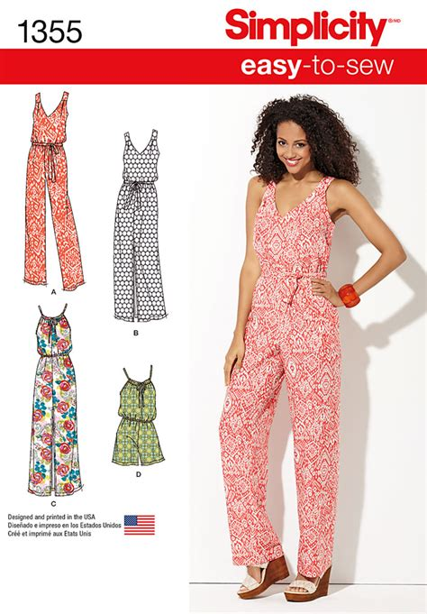 simple jumpsuit pattern simplicity 1355 jumpsuit romper plus included sewing