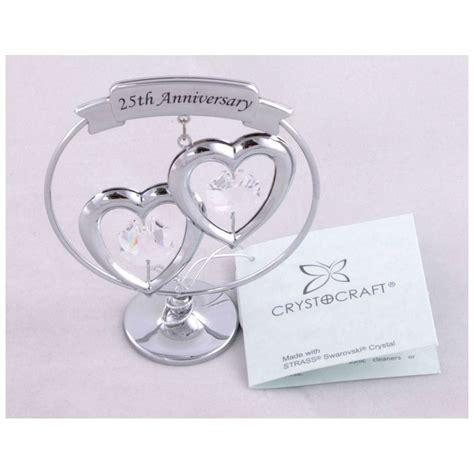 crystocraft keepsake gift ornament 25th silver wedding anniversary with swarvoski