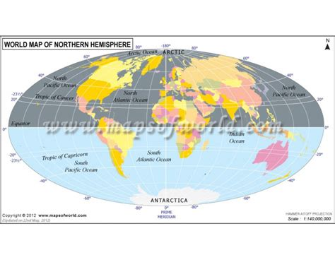 world map of northern hemisphere