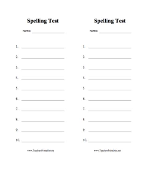 spelling test template 10 words spelling test paper 10 words wesharepics