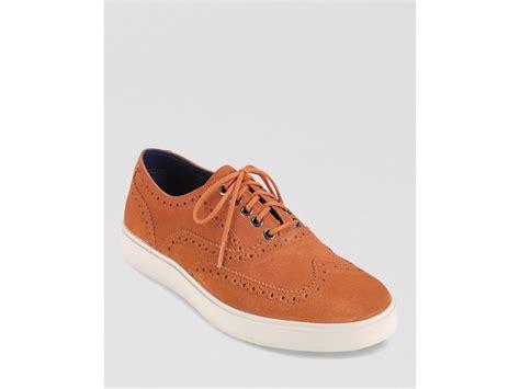 wingtip sneakers mens cole haan bergen suede wingtip sneakers in brown for