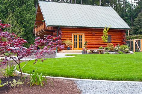backyard log cabin simple backyard landscaping landscape rustic with log