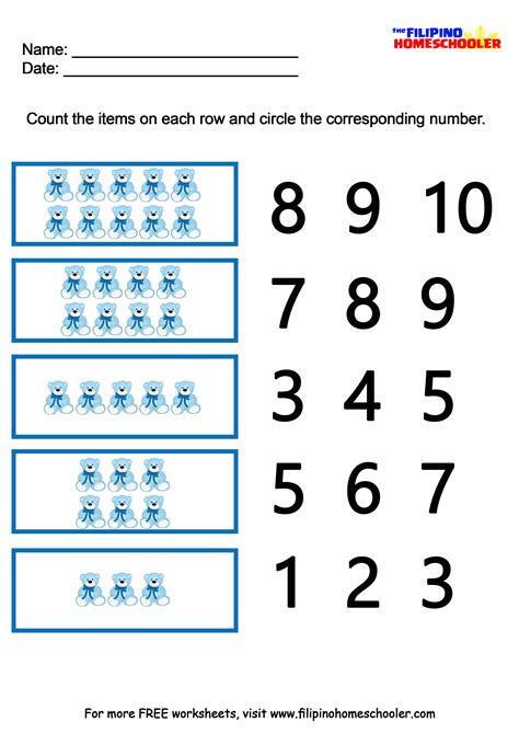 printable number recognition worksheets printable