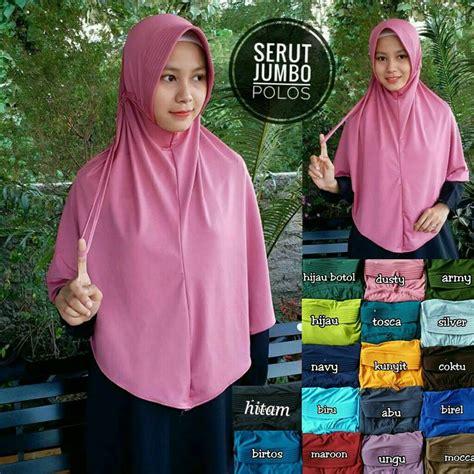 Jilbab Serut Polos Jumbo kerudung serut polos jumbo sentral grosir jilbab