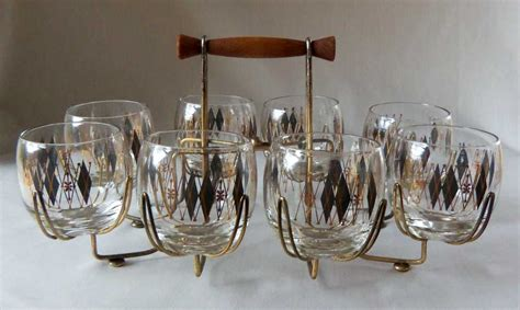 Bar Glasses Mid Century Bar Glass Set With Serving Caddy Omero Home