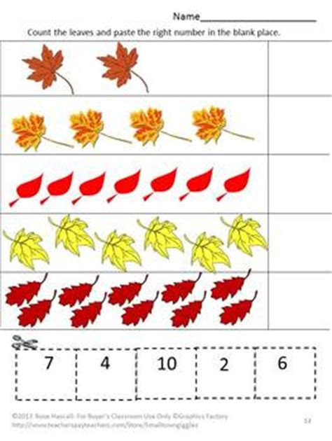 Cut And Paste Fall Worksheets by Fall Leaves Math Literacy Kindergarten Math Special