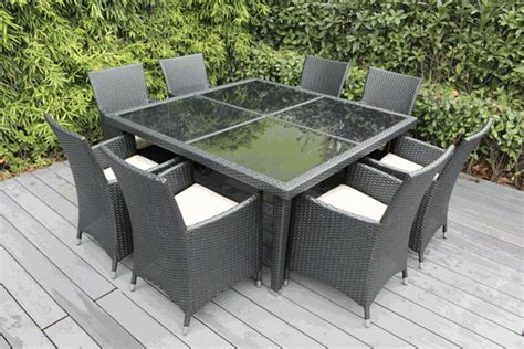Ohana Outdoor Patio Wicker Furniture Square Dining Set 8 Ohana Patio Furniture
