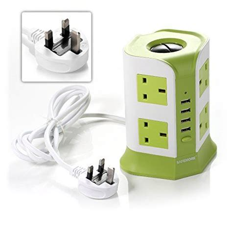 Log On Power Cord Adaptor Charger 4 Port 3 Socket Xiaomi Samsung Bb safemore 8 way outlet socket extension lead surge