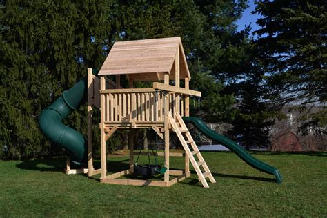 small swing sets for small backyard cedar swing sets the bailey space saver deluxe