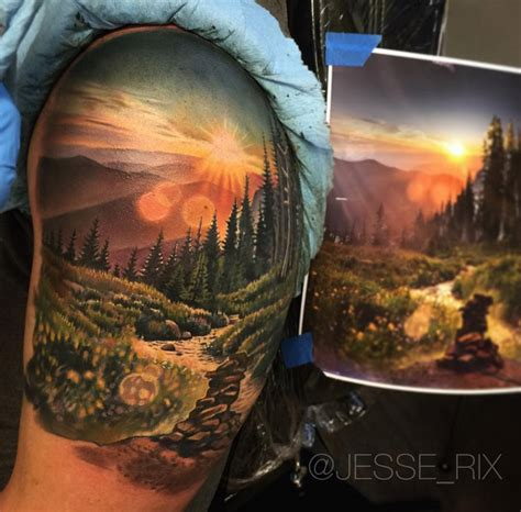 sunrise nature scene best tattoo design ideas