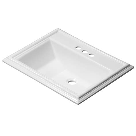 small rectangular drop in bathroom sinks shop corstone chesnee gloss white acrylic drop in
