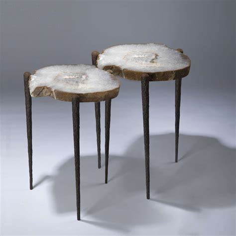 Agate Table L by Pair Of Agate Slices On Tapered Three Leg Table T3634