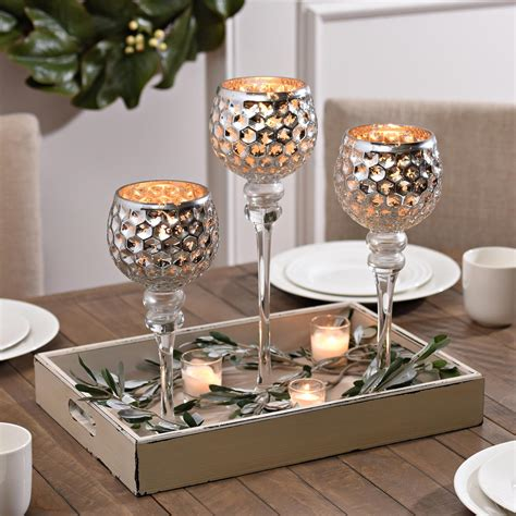 Candle Holders For Dining Table Silver Honeycomb Charismas Set Of 3 Honeycombs Decorating And Farmhouse Design