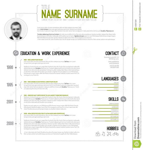 cv template word timeline minimalistic cv resume template stock vector